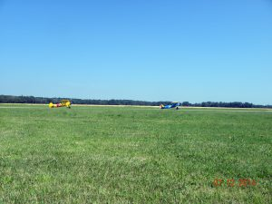 Stearman's taxiing out for takeoff