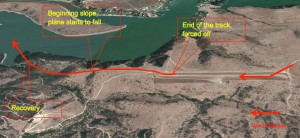 Path of the approach and aborted landing, Lake Rapel