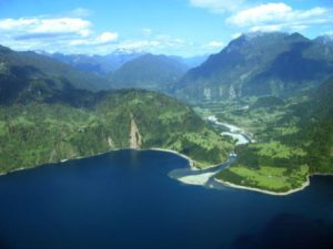 Lake Maihue, Chile from the air