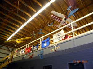 Models on display in EAA Chapter 486 hanger