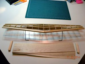 Topside of wing, leading edge view - build complete, before sheeting and wingtips.