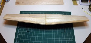 Topside of wing after sheeting. Leading edge view.