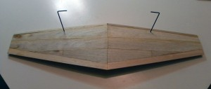 Underside of wing with sheeting added and trimmed for wingtips.