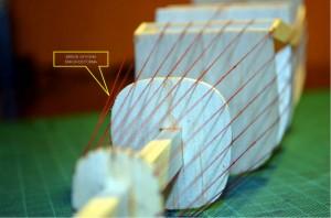 Detecting an error in estimating the shape of one of the fuselage sections. Detección de un error en la estimación de la forma de una de las secciones del fuselaje.