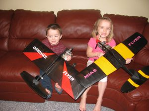 Connor and Mia with their Control Line Flyers
