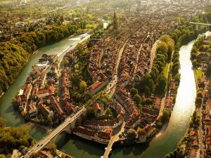 The medieval city center of Bern is surrounded by the Aare River and features a large collection of historic buildings and renaissance fountains.