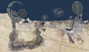 Dubai sits on the emirate's northern coastline and has become notable for its skyscrapers and high-rise buildings.