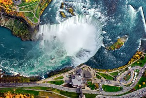 Horseshoe Falls, the largest of the 3 waterfalls that make up Niagara Falls, is one of the most voluminous waterfalls in the world.