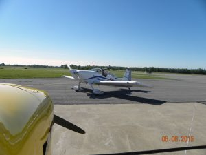 Fred Edmunds with passenger Rich Bohnsack fueled and ready for departure in Fred's RV-7.