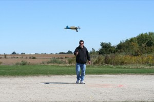 Rick Bollinger during one of his 38 flights at Burlington, Iowa, 2011