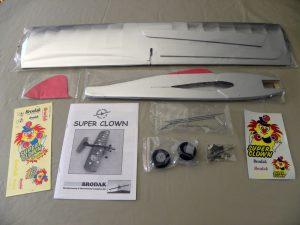 Box contents for Brodak Super Clown ARF kit
