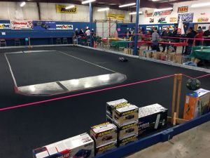 Walt's indoor car race track was in operation all day long.