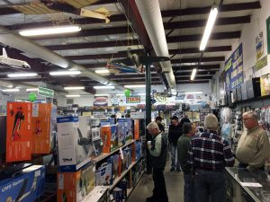 The sales aisles were packed all day long.