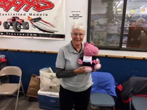 Jan Throne, Walt's wife, holding 'Lola' the ever present mascot for Walt's HobbyTown. Jan did the honors running the event tables and passing out the free door prizes.