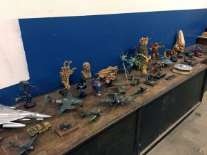 An area was set up with plastic modelers building and displaying their masterpieces.