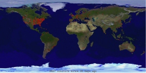 Location of FlyBoyz visitors from around the world during a 30-day period