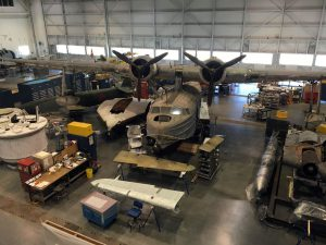 This PBY Catalina is undergoing preservation and is the sole survivor of one of the airfields attacked by the Japanese at Pearl Harbor. Every plane in this restoration hanger has a story!
