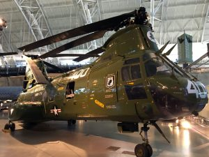 A Marine Corps CH-46 is currently on loan from the Marine Corps Museum. I spent a lot of time working on these birds, a personal favorite of mine, during my time in the Marines.