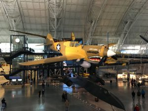 A personal favorite, a P-40 Warhawk, is on prominent display near the entrance to the main hanger.