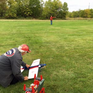 Chuck taking care of launch duties for Mike and his Brodak ARF Ringmaster.